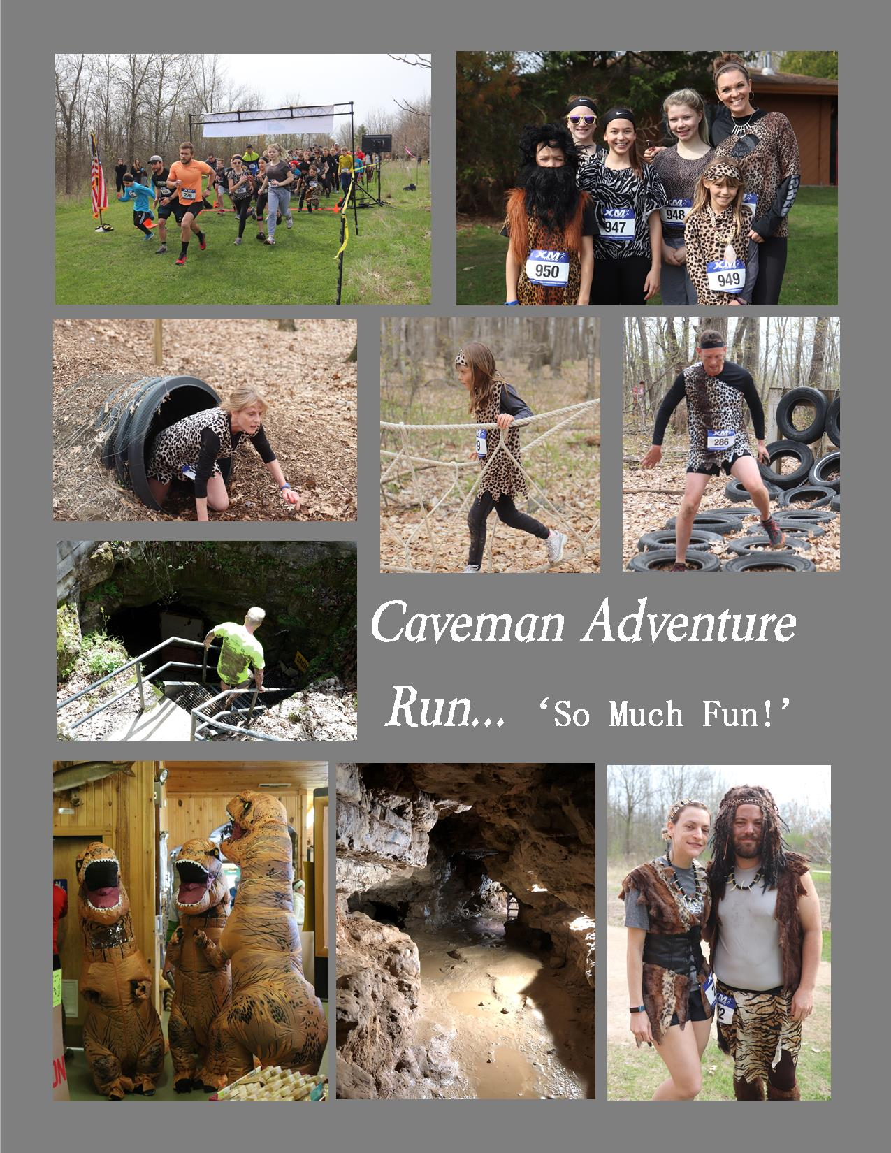 A poster showing photos of people participating in the caveman adventure run.
